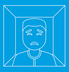 Man in a box icon outline style vector