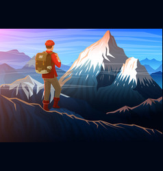 Mountain everest with tourist evening panoramic vector