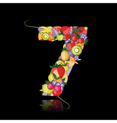 number seven made from fruits vector image