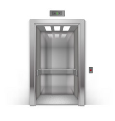 Open metal office building elevator doors isolated vector