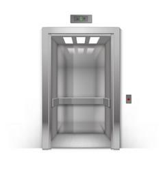 Open metal office building elevator doors isolated vector