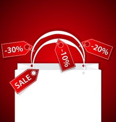 Paper shopping bag with discount labels and copy vector