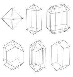 Precious stones outlines vector