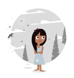 Sad girl lost in the woods vector