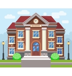 School or university building flat vector