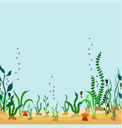 Seamless border of seabed with seaweed seahorse vector