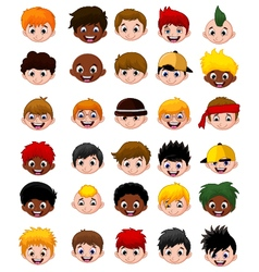 Set of cartoon childs head boys vector image vector image