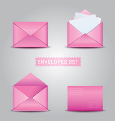 set pink envelopes open and closed envelope vector image vector image
