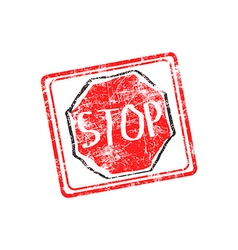 Stop red grunge rubber stamp vector