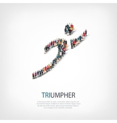 triumpher people sign 3d vector image vector image