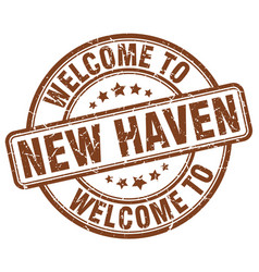 Welcome to new haven brown round vintage stamp vector