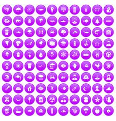 100 earth icons set purple vector