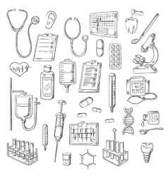 Medical checkup and treatments sketch icons vector image