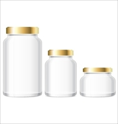 Glass jars bottles mockup small medium large vector