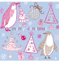 Doodle penguins winter pattern vector