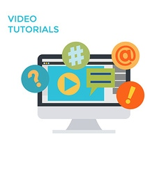 Flat design monitor icon video tutorials vector