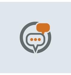 Gray-orange conversation bubbles round icon vector