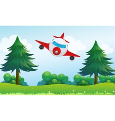 An airplane above the hills vector