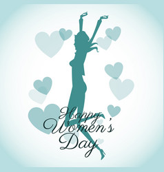 Happy womens day card-silhouette girl blue hearts vector