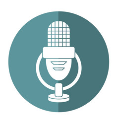 retro microphone voice icon shadow vector image