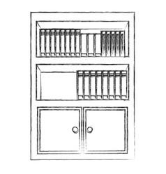 Bookshelf furniture office sketch vector