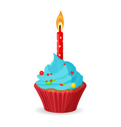 birthday cupcake with one burning candle blue vector image