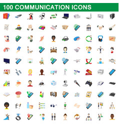 100 communication icons set cartoon style vector