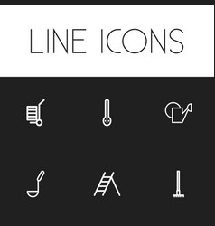 Set of 6 editable instrument outline icons vector
