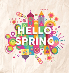 Hello spring quote poster design vector