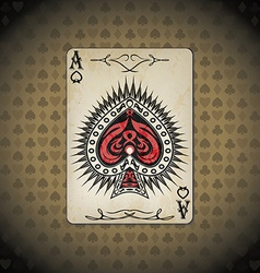 Ace of spades poker cards old look vintage vector