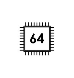 64 bit processor icon vector