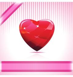 shiny ruby heart vector image