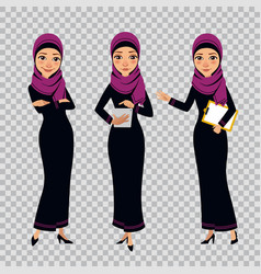 Arab business women characters in different poses vector