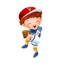 Baseball pitcher preparing to throw ball vector image