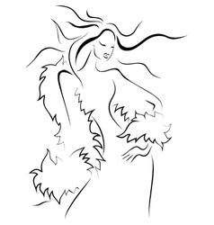 Beautiful young woman in a fur vector image