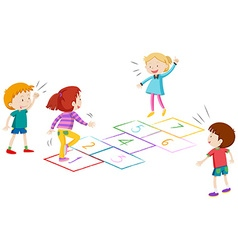 Boys and girls playing hopscotch vector image vector image