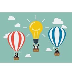 Businessman in lightbulb balloon fly pass his vector