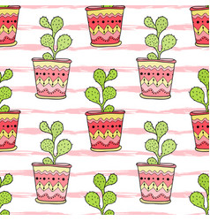 cactuses seamless pattern colorful cartoon vector image