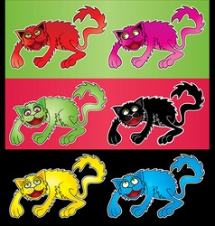 Cartoon colored cat with vector