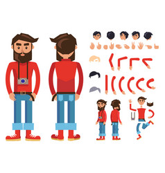 cartoon hipster man character constructor vector image