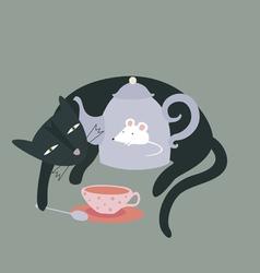 Cat and tea pot vector