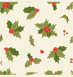 christmas holly berry decoration leaves vector image vector image