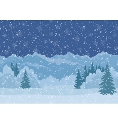 Christmas Landscape Mountains Seamless vector image vector image