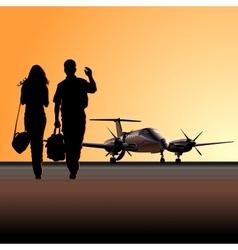Civil utility aircraft at aerodrome vector