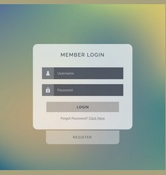 creative member login box interface design on vector image