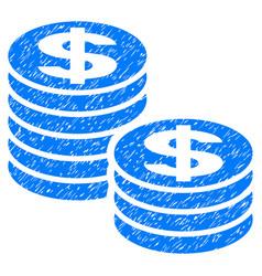 Dollar coin stacks grunge icon vector
