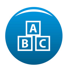education abc blocks icon blue vector image