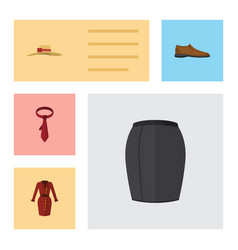 Flat dress set of male footware elegant headgear vector