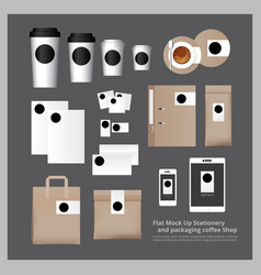 flat mock up stationery and packaging coffee shop vector image