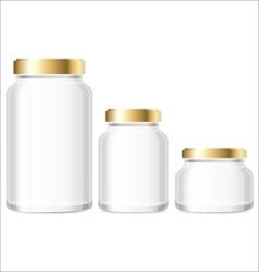 Glass jars bottles mockup small medium large vector
